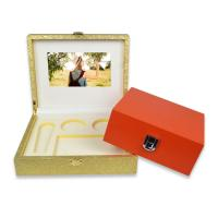 China Luxury video gift box LCD screen 7 inch video jewelry leather box on sale