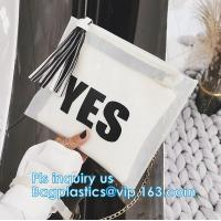 China Recyclable Clear Gift Plastic Flat Bottom Logo Pvc Ziplock Nylon Packing Bags With Handles,holographic ziplock makeup co on sale