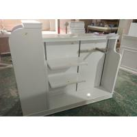 Cheap High Gloss White MDF Clothing Store Shelves / Retail Store Fixtures For Children for sale