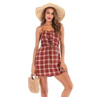 Quality Sleeveless Womens Summer Day Dresses / Yarn Dyed Checked Halter Dress wholesale