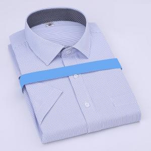 China Summer blue striped Custom Business Shirt short sleeved shirt for men and women on sale