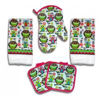 Quality Kitchen Towel Set 5 Piece Towels Pot Holders Oven Mitt Decorative Design Everyday Use wholesale