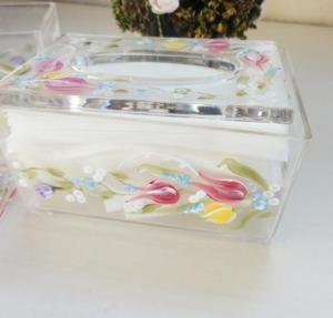 Quality Acrylic Tissue Box , Acrylic napkin case with beautiful silk printing wholesale