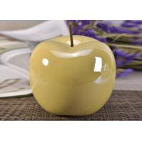 Cheap Decorative Ceramic Wedding Table Centerpieces Yellow Glazed Apple Shaped for sale