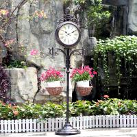 Quality 15in Double-Sided Weather Station and Plant Hanger outdoor floor clock garden clock metal diy clock wholesale