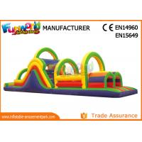 Quality 0.55 MM PVC Tarpaulin Inflatables Obstacle Course , Blow Up Trampoline wholesale