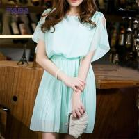 Quality Plus size ladies chiffon mini womens t shirt dress cheap luxury women dresses with bats sleeves and pleats wholesale