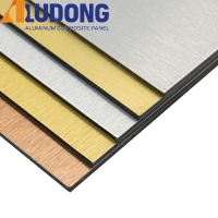 China 3mm Gold Silver Brushed Acm Aluminum Panels Fireproof Core on sale