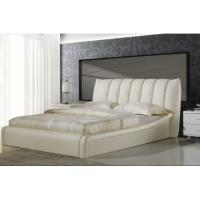 Cheap tufted white faux leather queen size platform bed w for Queen size footboard