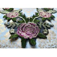 Quality Multicolor 3D Beautiful Flower Embroidered Applique Patches For Garment / Home Textile wholesale