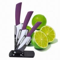 Quality 4-piece Ceramic Knife Set with ABS Plastic and TPR Coated wholesale