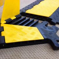 tourgo special design black yellow rubber fixable 5 channel cable protector floor humps. Black Bedroom Furniture Sets. Home Design Ideas