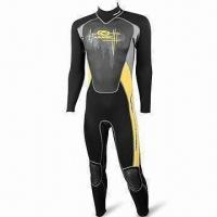 Quality Mens' Super Stretchy Wetsuit with Seal, Adjustable Neck and Rubber Printed Earth Kneepad wholesale