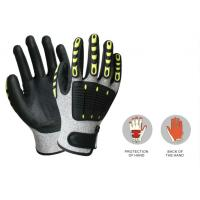 Buy cheap Custom working glove cut resistant glove with TPR on back, 13G HDPE yarn, sandy nitrile coated palm of China supplier from wholesalers