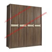Cheap Walnut color Wardrobe armoires in four open doors and shelves for residence home for sale