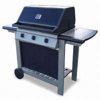 Quality Quality Wooden Trolley Gas BBQ grill with Flame Tamers and Temperature Gauge wholesale