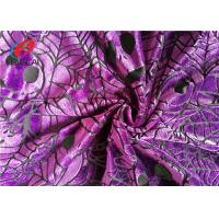 China Pumpkin Printed Burnout Velvet Polyester Spandex Fabric For Christmas Dress on sale