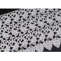 White Flower Clothing Label Water Soluble Lace Trim For Garment Comfortable