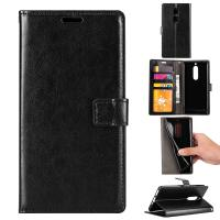 Quality Soft Black Color Slim Crazy Horse Leather Cases Wallet Inside For Nokia 8 wholesale