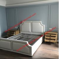 Quality White fabric bed with copper nail decoration and slat wood support in black metal rack for spring mattress wholesale