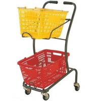 China Wire Mesh Shopping Basket Trolley Japanese Style / Double Basket Shopping Trolley With 4 Swivel Wheels on sale