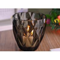 Quality Coloring Material Wedding Glass Candle Holder With Diamond Design , eco Friendly wholesale