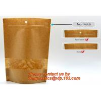 Quality Foil Kraft Paper Bag Coconut Packaging Bags Doypack with Clear Window,500g 1kg 16oz Ziplock Food Packaging Bag Customize wholesale