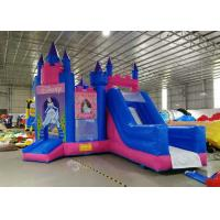 China Disney Pink Princess Inflatable Bouncers With Slide 3 Years Warranty on sale