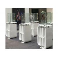 Quality Shining White Coating Custom Glass Display Cases With High Pole LED Lights wholesale