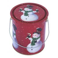 Buy cheap Christmas Holiday Tin Container , Food Grade With Metal Handle , Dia110xH130mm product