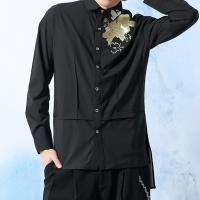 China Embroidery Mens Fashion Casual Shirts Long Sleeve 100% Cotton Black Color on sale