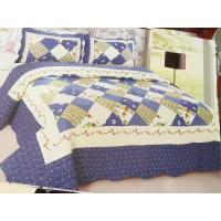 Quality Blue Checkered Home Bed Quilts Soft Touch For Indoor Household Decoration wholesale