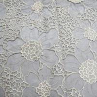 Quality Lace Fabric, Gold Metallic Threads Embroideries on Black Organza wholesale