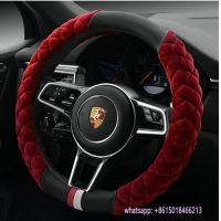 Quality new design red fur black pu warmer 38cm car steering wheel cover wholesale