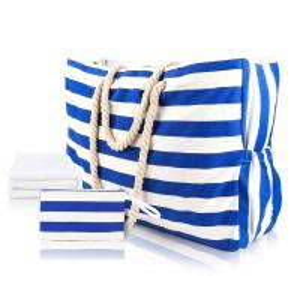 Striped Cute Fabric Canvas Tote Beach Bag Waterproof For Girls Ladies