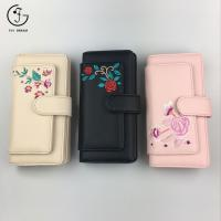 China China Black Embroidered PU Leather Women Wallets on sale