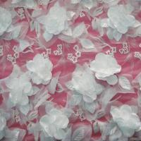 China Lace Fabric, White Embroideries with White Handing Flowers on sale