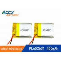 Cheap 652631 pl652631 prismatic lithium-ion polymer rechargeable batteries 3.7v 450mah for sale