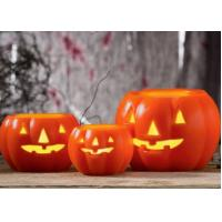 Quality Led Pumpkin Candle With Yellow Light , Plastic Outdoor Pumpkin Lights wholesale