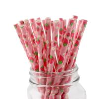 Quality Fruits Pattern Pink Paper Straws Non Toxic Recyclable  And Biodegradable wholesale