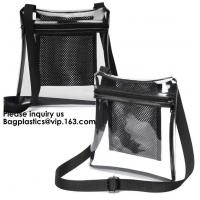 Quality Clear Sling Bag PVC Tote Bag With Interior Mesh Bag And Shoulder Strap,Clear PVC large handbag with small pouch wholesale