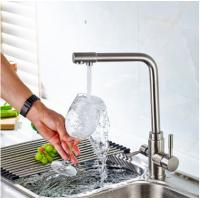 Quality 3 Way Kitchen Gooseneck Kitchen Faucet Brass Material With Chrome Plating wholesale