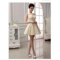 Quality Lace illusion neckline Short wedding gowns for bridesmaids , lace covered back wholesale