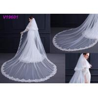 Quality White Women Wedding Gown Accessories Veil With Lace Beading Decoration Design wholesale