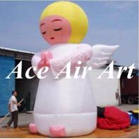 Quality custom giant 20 feet lovely inflatable angle girl with flying wings for advertising wholesale