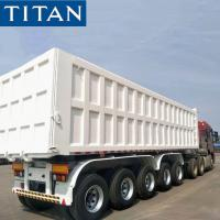 China TITAN 5 Axles 80 Tons Stone Coal Sand Iron Rear Square Shape Dump Tipper Trailer For Sale on sale