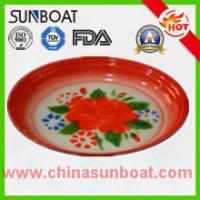 Quality sunboat cast iron flower decal enamel round tray food serving tray wholesale