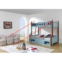 Cheap Sky blue painting bunk bed for children bedroom in solid wood frame and MDF plate with storage drawers in apartment furn for sale