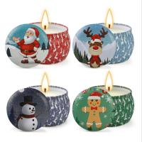 Quality Scented Soy Wax Cute Pattern Christmas Tin Candles Jar With Metal Lid Lightweight wholesale