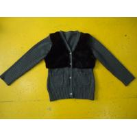 Quality Chic Girls Cardigan Sweaters , Faux Fur Blocked Chest Girls Button Down Sweaters wholesale